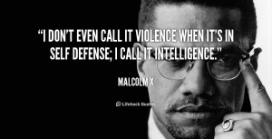 ... call it violence when it's in self defense; I call it intelligence