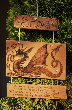 ... - The Hobbit, 'Dragon' Wood Burning Wall Hanging with Tolkien Quote