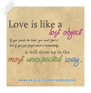 Love Is Like A Lost Object Quote