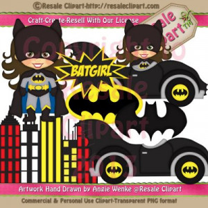Batman, Batgirl and Spider-Man Inspired Clip Art is Available for ...
