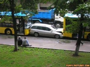 funny car accident buses