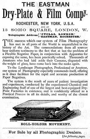 Eastman Dry Plate & Film Company, Advertisement (1887) for roll holder