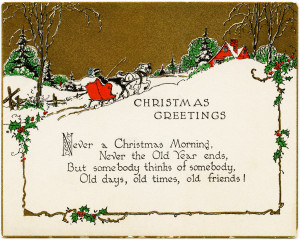 vintage christmas card, old fashioned holiday greeting, horse drawn ...