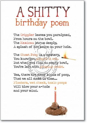Shitty Poem Unique Inappropriate Humorous Birthday Greeting Card ...