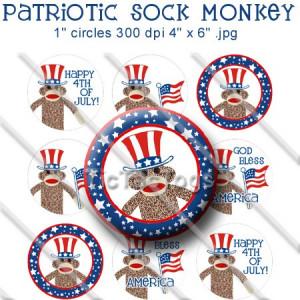 Patriotic Sock Monkey Sayings Bottle Cap Digital Collage 1 Inch Images