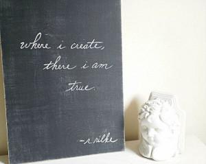 Rainer Maria Rilke Classic Quote Wood Sign - Black & White Rustic Wall ...
