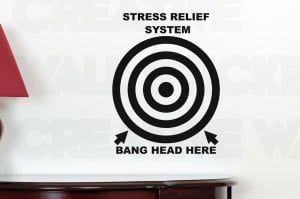 ... STICKER STRESS RELIEF BANG HEAD HERE FUNNY WALL DECALS QUOTE TRANSFER