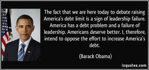 today to debate raising America's debt limit is a sign of leadership ...