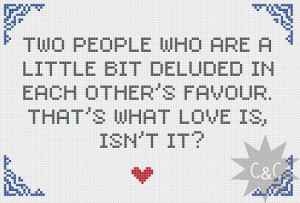 ... Mitchell and Webb Look love quote cross stitch sampler PDF pattern