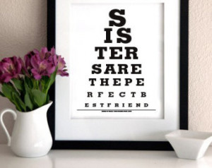 GIFT FOR SISTER - Sisters Are The Perfect Best Friend - Eye Exam Chart ...