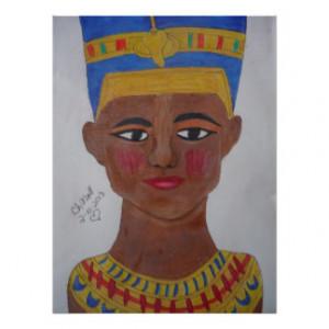 Queen Nefertiti colored pencil Poster