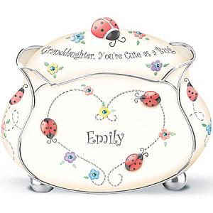 Personalized Ladybug Music Box: Granddaughter, You're Cute As A Bug