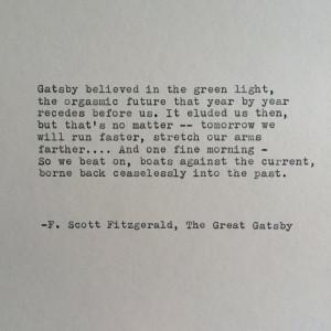Scott Fitzgerald Great Gatsby Quote Hand Typed on Typewriter ...