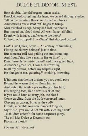 War poetry analysis of Wilfred Owen's 'Dulce et Decorum est'.