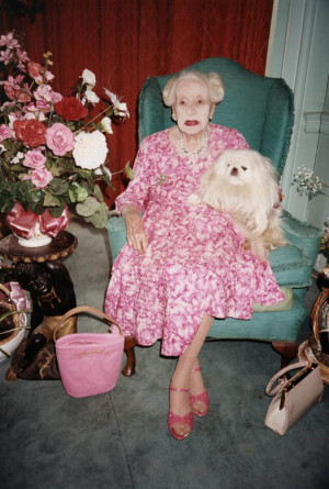 ... Barbara Cartland , British author, photographed at age 99 by Jergen