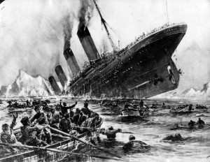 ... sinking of the Titanic, as survivors struggled to get away from the