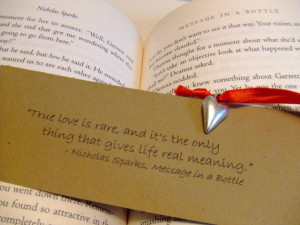 True Love - Nicholas Sparks Quote Bookmark - Message In A Bottle