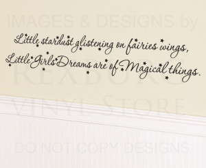 Wall-Decal-Quote-Vinyl-Sticker-Art-Little-Stardust-Fairies-and-Girl ...