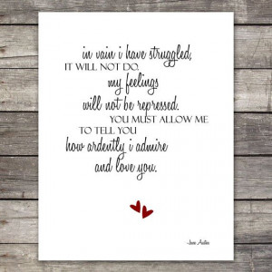 Large 11X14 Pride and Prejudice Quote Print with Mr. Darcy's Proposal ...