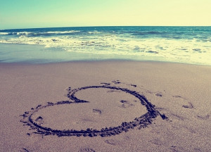 beach, cute, footprint, heart, love, ocean, sand