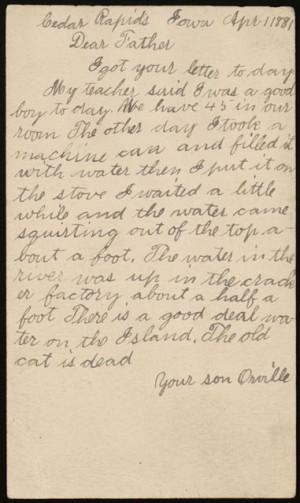 Orville Wright to Milton Wright, April 1881