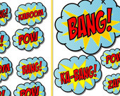 SUPER HERO Party - POWER Words/ Bursts- SuperHero Birthday Party- Boys ...