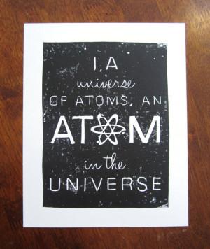 ... of Atoms - Richard P. Feynman Quote - 8x10 Linocut - Black, White