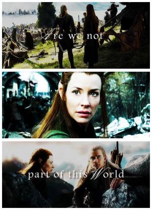 Tauriel & Legolas, The Hobbit: Battle Of The Five Armies Trailer quote ...