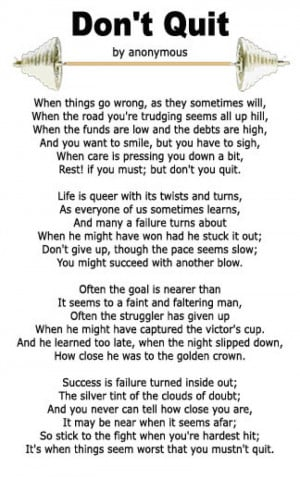 "Want a copy of the ""Don't Quit"" poem, right click on the image ..."