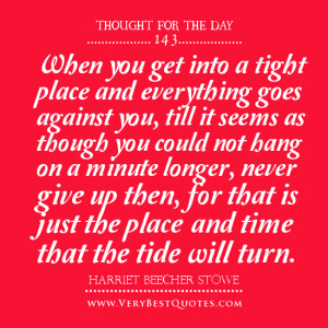 Never give up quotes, thought for the day