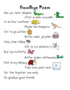 ... for kids ideas classroom kids poems goodbye rhymes goodbye poems for