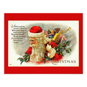 Santa Claus Quote - Vintage Merry Christmas Custom Announcement