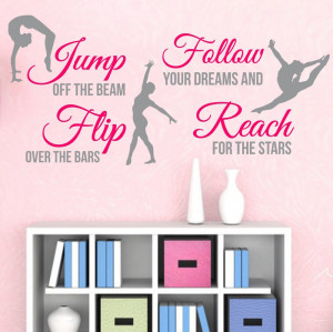 2014 2-Color Gymnastics Dance GIRLS SPORT Vinyl Wall Decor Mural Quote ...