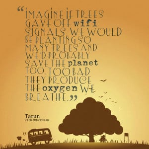 Quotes Picture: imagine if trees gave off wifi signals, we would be ...