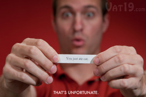 Unfortunate Fortune Cookie has a funny fortune cookie saying.