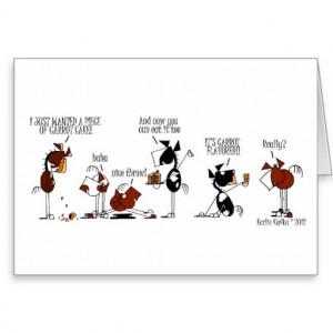 Funny Horse & Carrot Cake Cartoon Birthday Card