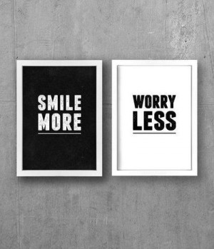 black and white, photography, quotes, smile, text, worry