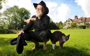 Terry Pratchett at home near Salisbury in 2008: the Discworld cats ...