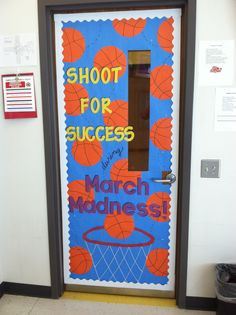 March Madness themed classroom door More