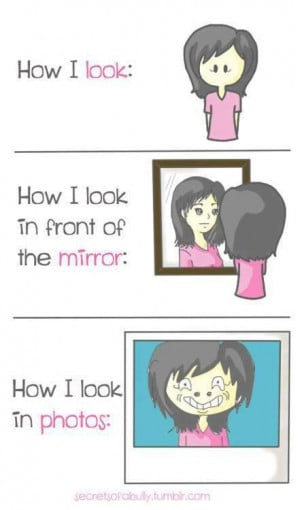 cartoon, cute, drawing, fact, girl, girly, mirror, photos, phoyo ...