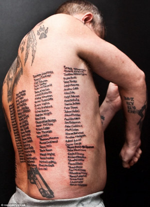 The military tattoo: Former soldier has names of every soldier killed ...