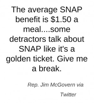 Jim McGovern is speaking out against the hunger epidemic. This quote ...