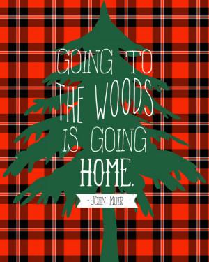 red plaid pine tree john muir quote 8x10 art print