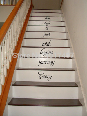 home Stair decal - Every journey begins ..stairway Vinyl Decal Home ...