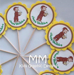 Curious George Theme - Cupcake Toppers - Personalized - Birthday ...