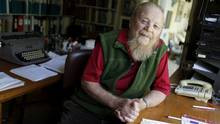 Farley Mowat, seen here at age 89, in his Port Hope, Ontario home on ...