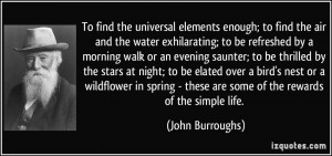 To find the universal elements enough; to find the air and the water ...