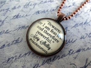 Frankenstein Mary Shelley Book Quote Necklace - Book Jewelry or ...
