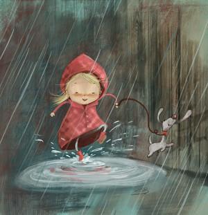 Een vrolijk regenachtig plaatje op een grijze regenachtige dag.