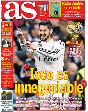 ... Ancelotti's quotes on Isco, noting that his place is 'non-negotiable